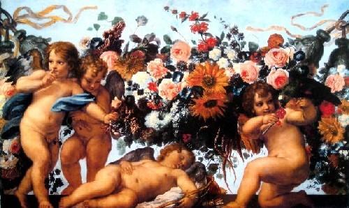 Amours Et Guirlande De Fleurs