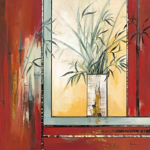Vase Blanc Aux Bambous