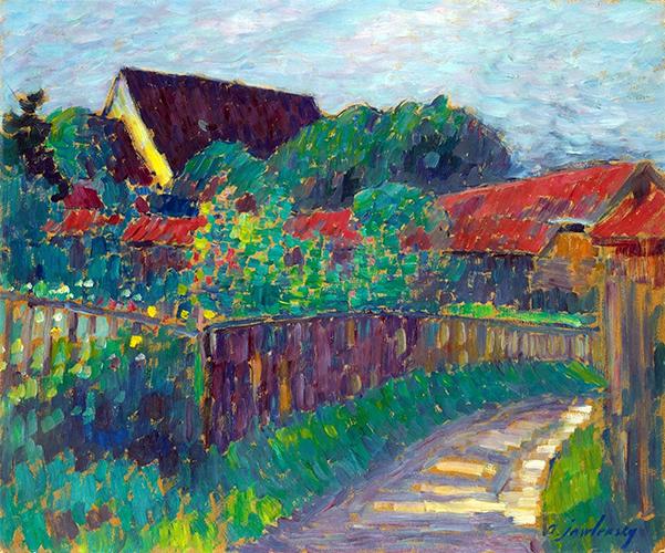 Garten am Bauernhaus. Um 1907