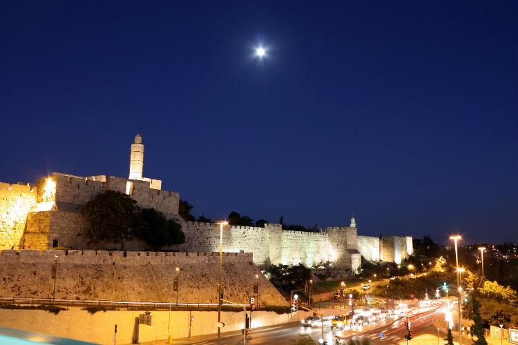 Jerusalem Walls Night