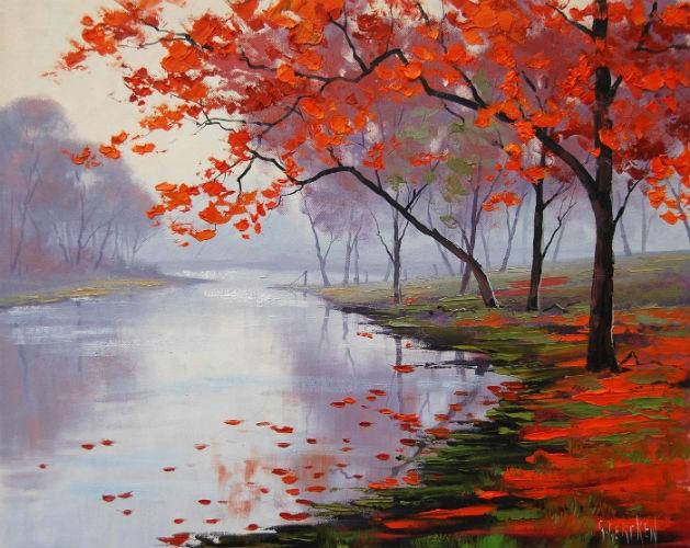 Red Trees & Lake