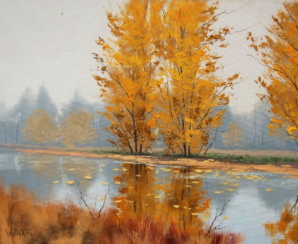 Yellow Trees By The River
