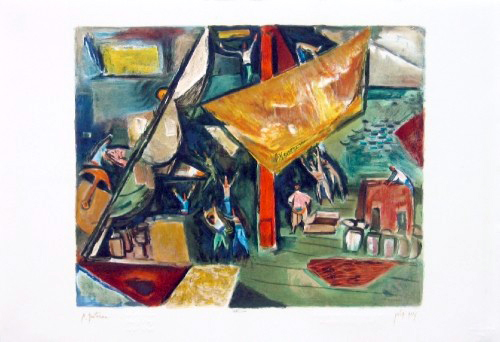Fishermen And Boats - Original (S.G.) Sined On Plate - Edition 1000