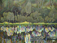 Forest Lake - Original mixed-media on canvas