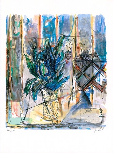 Blue Flowers In A Vase (S.G.)